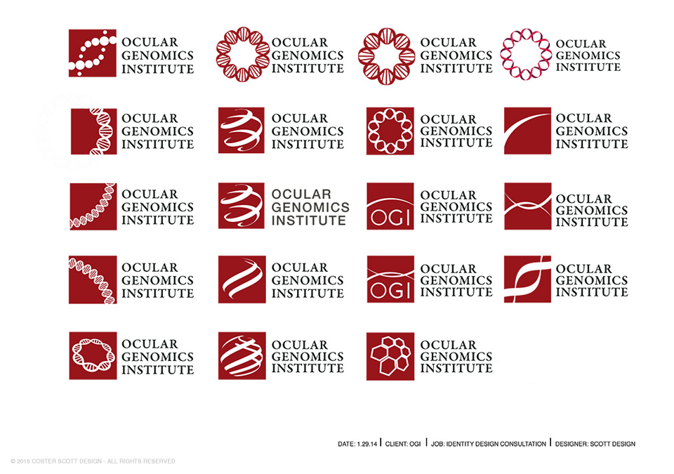 ©2015 Coster Scott, My identity designs for the Ocular Genomics Institute, Department of Ophthalmology, Harvard Medical School. The fourth down on the right was selected.