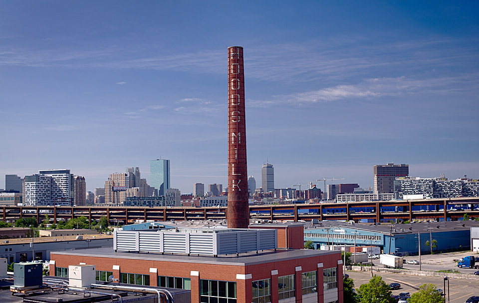 Hood stack / Boston skyline